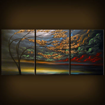 Impressionist art abstract original painting metallic gold tree woods landscape painting 54 x 24 Mattsart