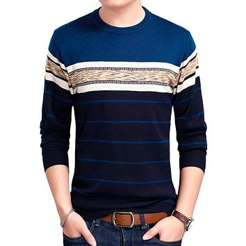 Winter Sweaters Mens With Fur Inside O-Neck Cotton Soft Warm Striped Slim Fit Knitting Men Pullover Sweaters Men M-3XL