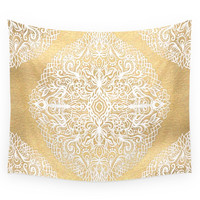 Society6 White Gouache Doodle On Gold Paint Wall Tapestry