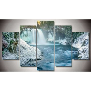 Waterfall Winter Snow Scene Wall Art Panel Print Modular Picture Framed UNframed