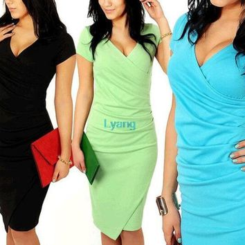 2014 Newest Summer Women's Short Sleeve V Neck Elegant Casual Formal Work Evening Sexy Pencil Plus Size Dress = 1932302468