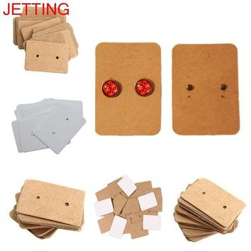 ac spbest JETTING 100Pcs Kraft Paper Ear Stud Hang Tag Jewelry Display Card Earring Kraft Paper Tag Ear Ring Paper Hang Price Tag