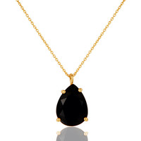 "Natural Black Onyx Prong Set Gemstone Sterling Silver Pendant With 16"" Chain"