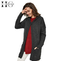 HEE GRAND Autumn Hot Selling Cardigan Women Full Sleeve Long Loose Knitted Cardigans Hooded Sweater For Young Lady WZL304