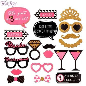 FENGRISE 20 Pieces Bachelorette Party Photo Booth Props Girls Night Out DIY Kits Hen Party Favors Bridesmaid Wedding Decoration