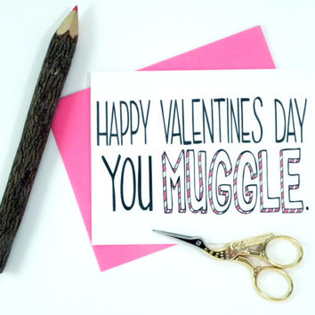 Happy Valentines Muggle - Harry Potter - Hand Illustrated Greeting Card