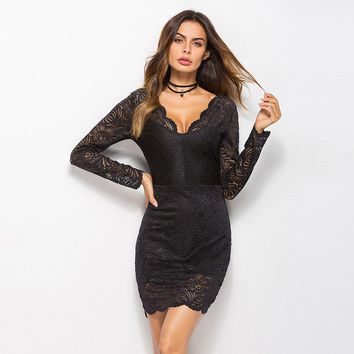 Sexy Deep V Back Lace Dress Hollow Out Long Sleeves Elegant V Neck Dress For Women