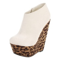 Disko Haircalf Leopard Wedge Ankle Booties BEIGE LEOPARD - Boots Under $20 - Popular