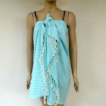 Bright turquoise colour Turkish soft cotton light weight bath towel, beach towel, travel towel, shawl, sarong.