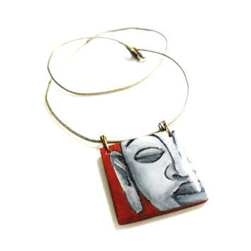 Buddha Pendant Necklace, Buddhist Jewelry, Wooden Square Pendant, Wearable Art Hand Painted Necklace, Buddhas Face, Serenity Jewelry