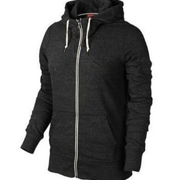 Black Heather Zip-Up Jacket