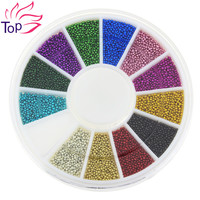 Top Nail 12 Color Steels Beads Studs For Nails Metal Caviar Design Wheel Charms 3D Decorations Nail Art Supplies ZP206