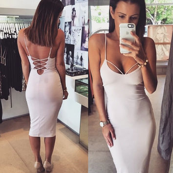 White Spaghetti Straps Crisscross Backless Bodycon Midi Dress