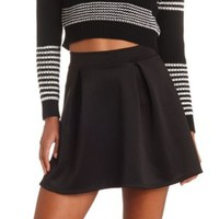 High-Waisted Pleated Skater Skirt by Charlotte Russe - Black