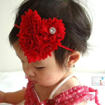 Valentine Headband, Red Shabby heart headband. Baby Girls Headbands, Newborn headband, Heart headband, Valentine heart, Red headband, Heart