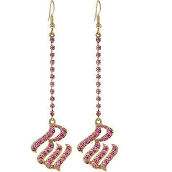 ROCAWEAR Pink Austrian Crystal RW LOGO Gold Drop Earrings