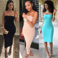 ONETOW Sexy strapless women summer white black midi dress 2016 new fashion brief slim club bodycon bandage party dresses