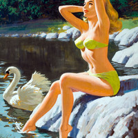 Pin-Up Girl Wall Decal Poster Sticker - Lady and the Swan - Blonde Pinup Pin Up