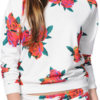 Married To The Mob Floral Print Crew Neck Sweatshirt