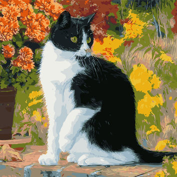 Frameless pictures painting by numbers hand painted canvas cuadros drawing diy oil painting by numbers canvas painting cats