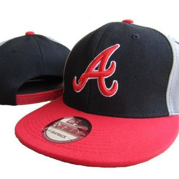ESBON Atlanta Braves New Era MLB 9FIFTY Hat Black-Red