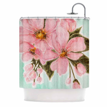 "Christen Treat ""Fumiko"" Pink Green Shower Curtain"