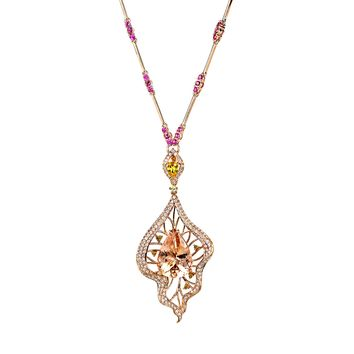 11.98tcw Morganite, Yellow Sapphire, Ruby & Diamonds in 18K Rose Gold Statement Pendant Necklace 16""