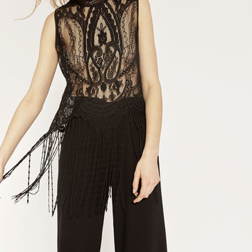 FRINGED BLONDE LACE TOP