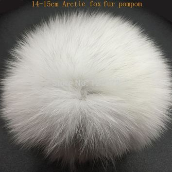 DIY 14-15cm big Fox Fur pompoms Elegant Fur balls for knitted hat cap winter beanies and keychain and scarves  real fur pom poms