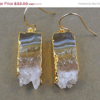SALE Amethyst Slice Druzy Earrings edged in 24k gold