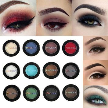PHOERA Matte Eye Shadow Glitter Eyeshadow Powder 12 Colors Pigment Nude Long Lasting Available Makeup Water-Resistant  TSLM1