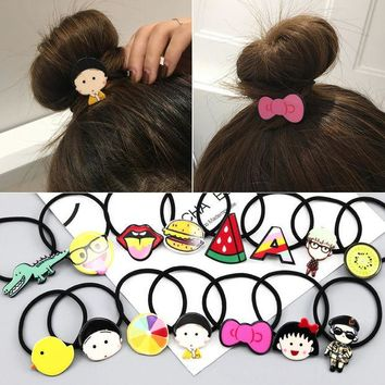 DCCKL3Z 2017 New Novelty Hot Sale Girl's Cartoon character animal Character Hair Accessories Fashion Kids Candy Rubber Bands Headwear