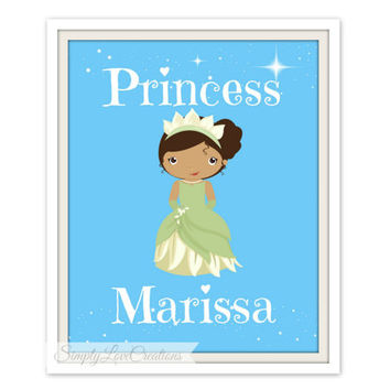 Princess Print - Personalized Name  - Cinderella, Belle, Snow White, Jasmine - Nursery Wall Art, Girls Room Decor, Princess Nursery