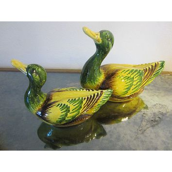 Italian Green Ceramic Ducks Yellow Accent In Pair Marked Italy