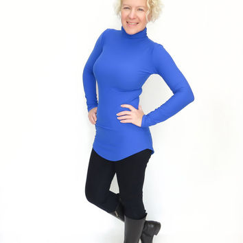 Indigo blue turtleneck womens tunic top blue long sweatshirt
