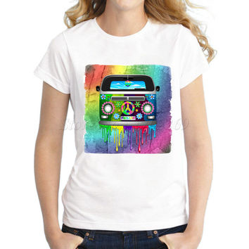 New arrivals Women's Psychedelic Explosion Black Skull Printed T shirt Hippie Van Dripping Rainbow Paint fashion casual tee/tops