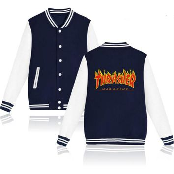 Thrasher flame special large size tide coat plus cashmere couple baseball clothing Red letters-2