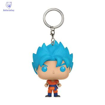 Keychain Naruto Dragon Ball super sajyan goku action figure Bobble Head Q Edition no box for Car Decoration
