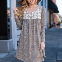 Detail Us What You Know Dress, Taupe