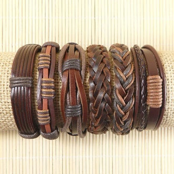 Leather Bracelets 6 Piece Mens Bracelets Leather Braclets for Women Leather Wrap Bracelets BST-524