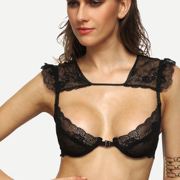 Black Tie Back Cutout Lace Bralet | MakeMeChic.COM