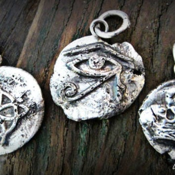 Wax Seal Necklaces - Ouroboros Designs   Crown, Eye of Horus, Sacred Geometry