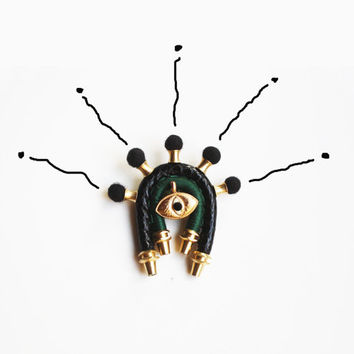 BIG BROTHER - Eye Brooch Leather Brooch Unisex Brooch Goth Steampunk Black Gold Emerald Green