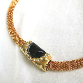 Vintage Black Cabochon & Clear Rhinestone Slide Mesh Necklace