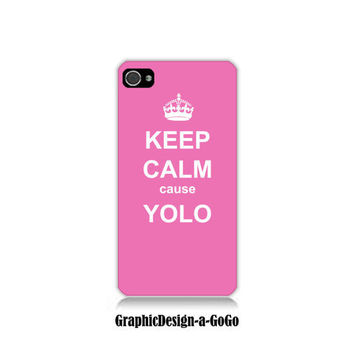 Iphone 4 case, Iphone 4s , Keep Calm cause Yolo Pink, custom cell phone case, Original design