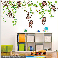 Hot New Jungle Monkey Tree Wall Sticker Vinyl Removable Kid Nursery Kids Art Decor Decal 2016