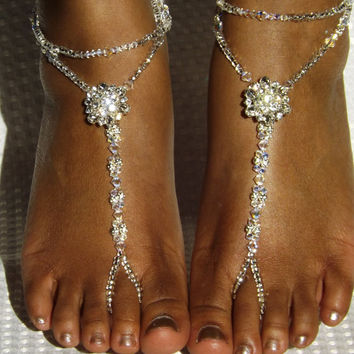 Swarovski Barefoot Sandals Beach Wedding Barefoot Sandals Foot Jewelry Anklet  Silver Sandles