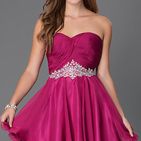 Short Strapless Sweetheart Alyce Dress with Jewel Embellished Waist