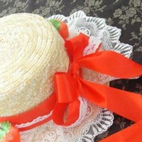 Princess sweet lolita Japanese Countryside soft girl strawberry counch cross lase Straw hat Formal hat MSG MZ012