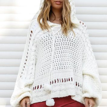What About Us Pom Pom White Knit Sweater
